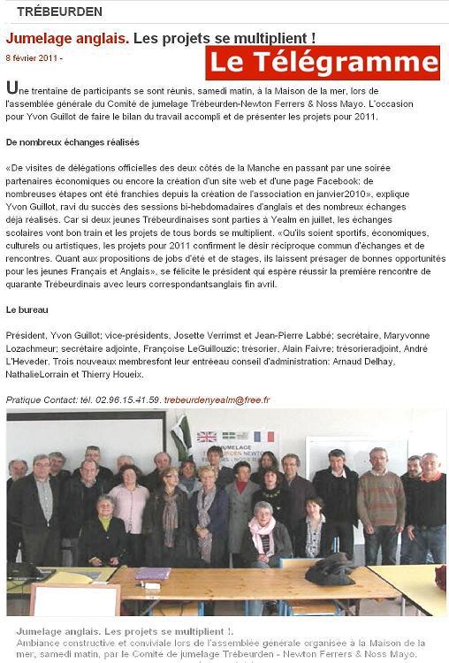 Assemblée générale du Comité de jumelage Trébeurden / Newton & Noss (UK)